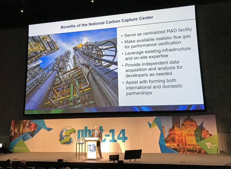 Southern Company Consulting Engineer Frank Morton shared highlights of the National Carbon Capture Center's technology testing during the GHGT-14 plenary session.